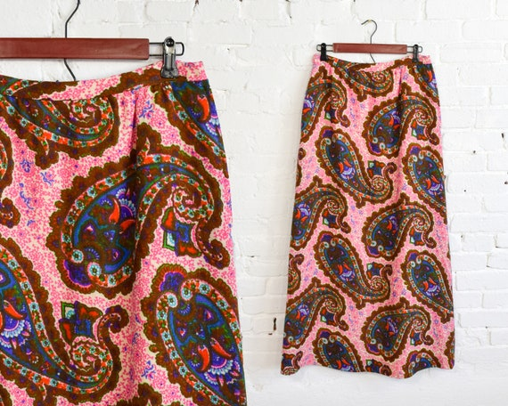70s Pink Paisley Maxi Skirt | Pink Paisley Woven S