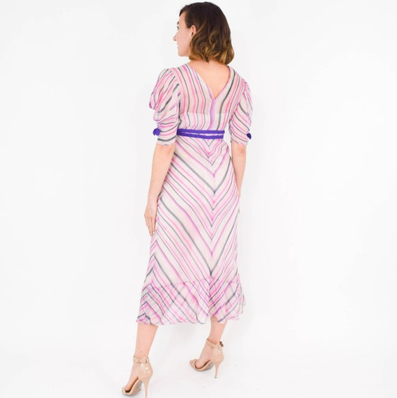 1930s Pink Chiffon Stripe Dress |  30s Pink Silk … - image 5