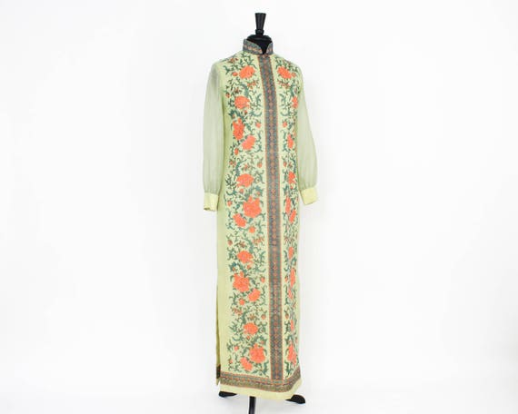 Alred Shaheen   1970s Green Maxi Dress   70s Scre… - image 3