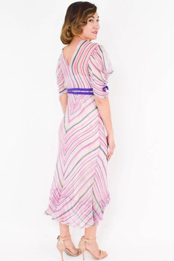 1930s Pink Chiffon Stripe Dress |  30s Pink Silk … - image 6