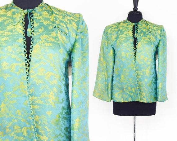 1940s Green Silk Brocade Jacket |  40s Gold & Turq