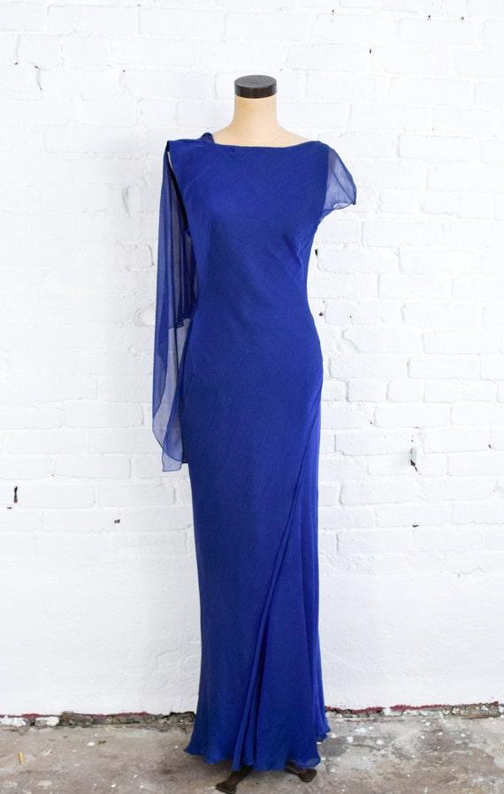 1990s Dark Blue Chiffon Evening Gown | 90s Blue I… - image 2
