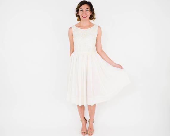 1950s White Chiffon Party Dress   50s White & Seq… - image 5