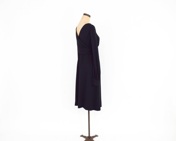 1960s Black Crepe Evening Dress | 60s Black Crepe… - image 8