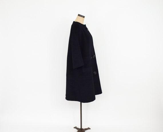 Lilli Ann | 1950s Black Wool Swing Coat | 50s Bla… - image 8
