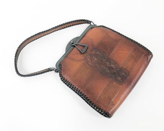 1920s Tooled Leather Handbag  | 20s Art Deco Brown