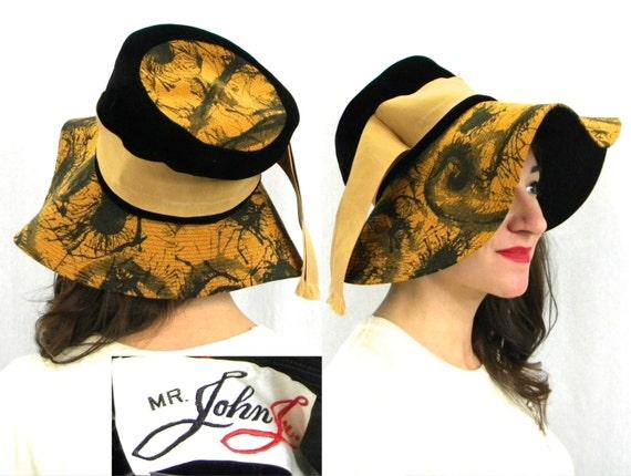 1970s Gold Black Velvet Hat   70s Gold Print Wide