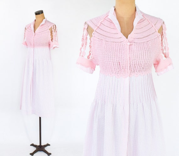 1980s Pink Crochet Top Dress | 80s Pink Seersucker
