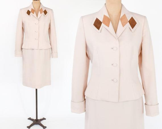 1970s Lilli Ann Beige Skirt Suit  | 70s Tan Polyes