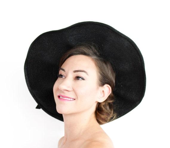 1940s Black Wide Brim Hat | 40s Black Saucer Hat |