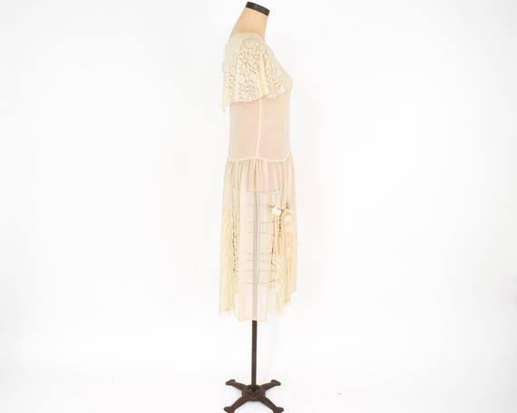 1920s Ivory Silk Chiffon Dress | 20s Ivory Chiffo… - image 7
