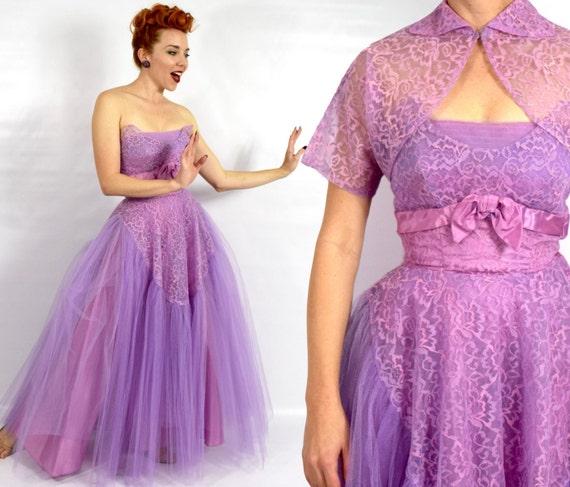 1940s Purple Lace Evening Dress   40s Lavender Tul