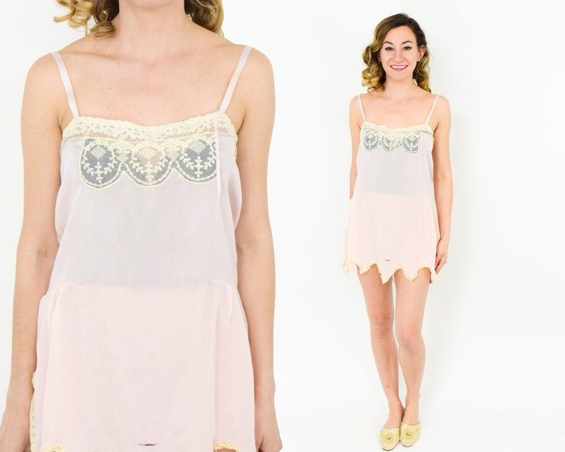 0cafff70d 20s Silk Nightie Romper Pale Pink Lace Trimmed Sheer Flapper