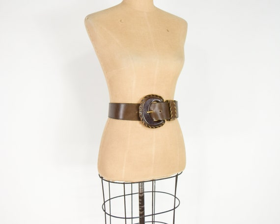1980s Brown Wide Leather Belt | 80s Brown Leather… - image 2