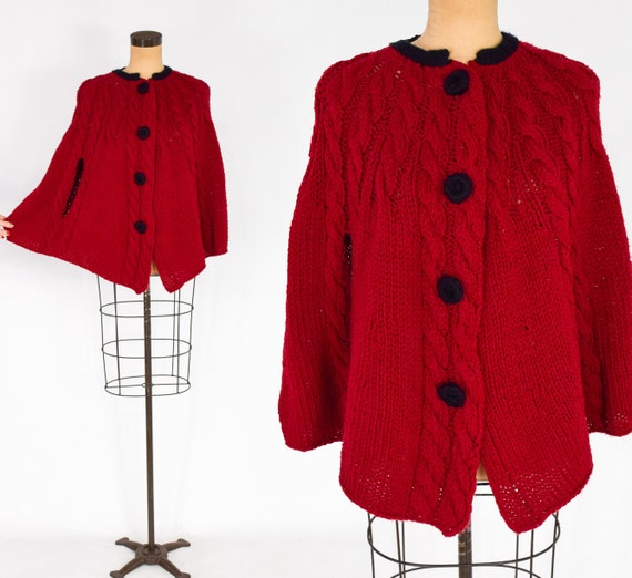 1970s Cranberry Sweater Knit Cape | 70s Red Knit S