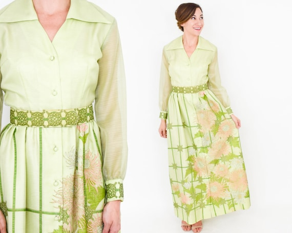 Alfred Shaheen | 1970s Green Maxi Dress | 70s Lim… - image 2