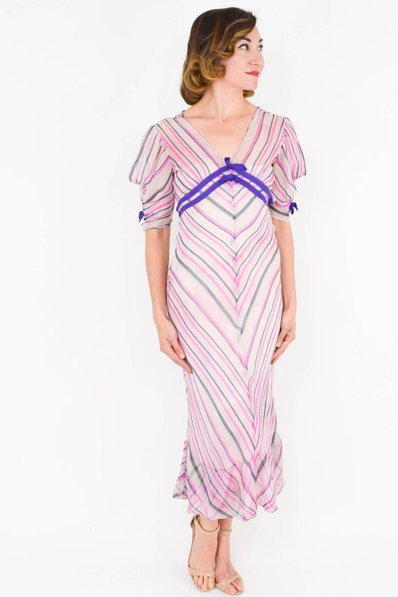 1930s Pink Chiffon Stripe Dress |  30s Pink Silk … - image 3