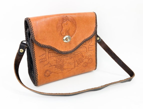 1960s Brown Tooled Leather Purse | 40s Brown Toole