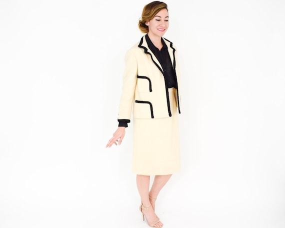 Lilli Ann | 1960s White & Black Wool Suit | 60s C… - image 3