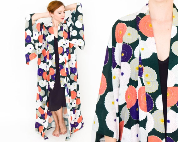 Floral Kimono Robe | Green Orange Floral Robe | Ch