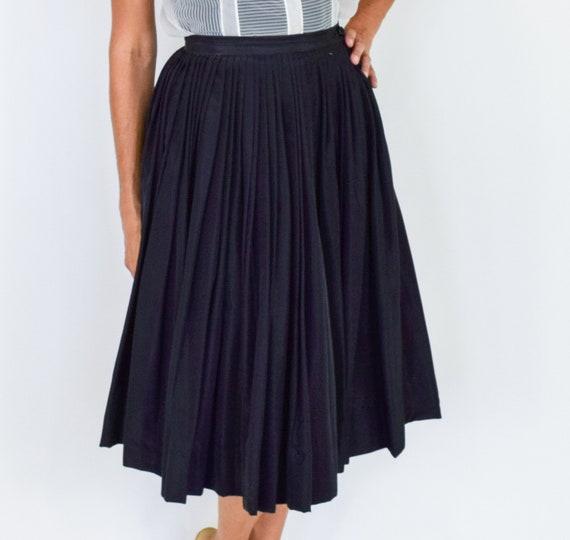1950s Black Pleated Full Skirt   50s Black Evenin… - image 8