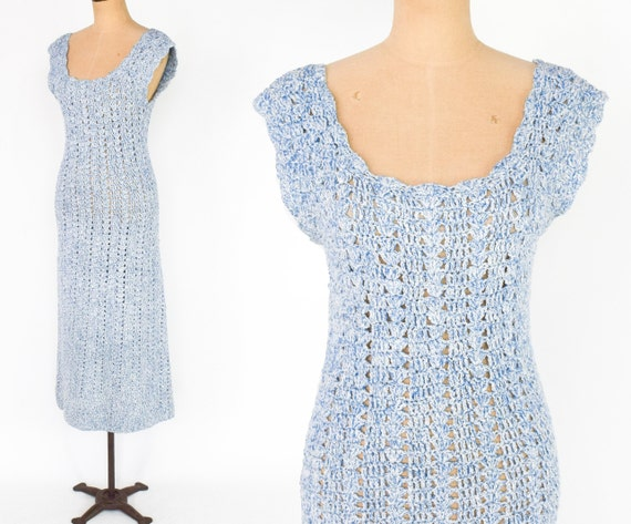 1970s Blue Crochet Maxi Dress | 70s Blue Cotton Kn