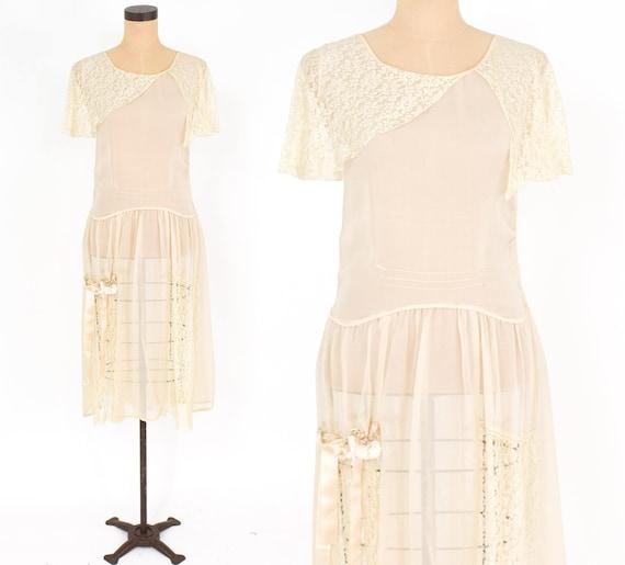 1920s Ivory Silk Chiffon Dress | 20s Ivory Chiffo… - image 1
