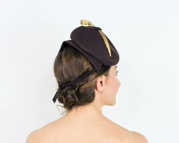 1940s Brown Wool Fascinator   40s BrownWool Felt