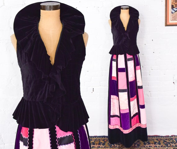 1970s Pink & Black Patchwork Maxi Skirt | 70s Quil
