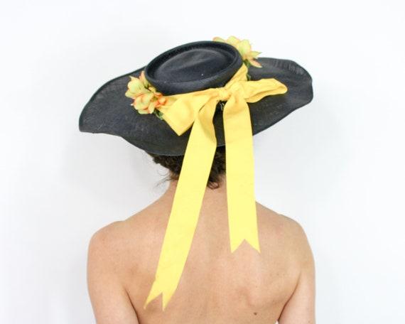1940s Black Straw Sun Hat | 40s Black Wide Brim S… - image 6