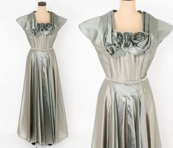1940s Green Evening Gown  | 40s Iridescent Gray Gr