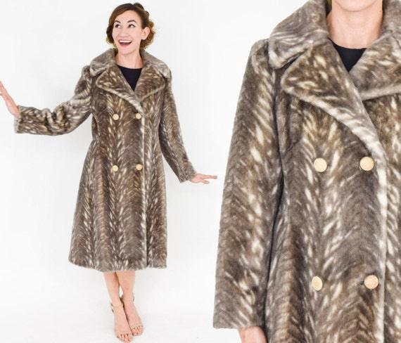 1098d7228 60s Brown Faux Fur Coat Beige Vegan Fur Winter Coat Medium