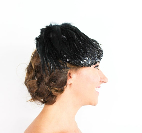 1950s Black Sequin Hat   50s Black Feather & Sequ… - image 1