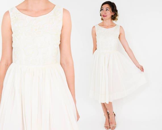 1950s White Chiffon Party Dress   50s White & Seq… - image 2