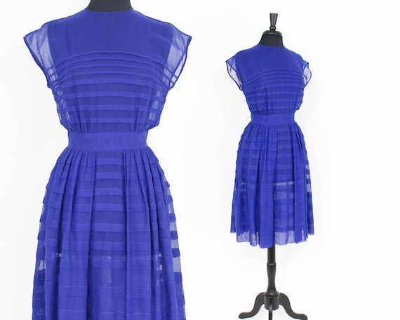 1950s Blue Chiffon Dress | 50s Royal Blue Chiffon