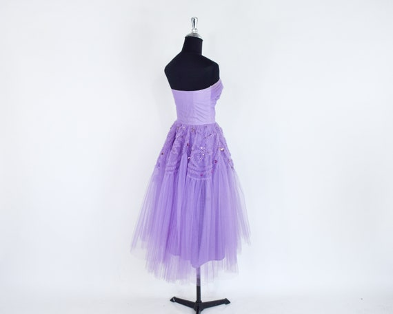 1940s Lavender Tulle Party Dress   40s Purple Tul… - image 9
