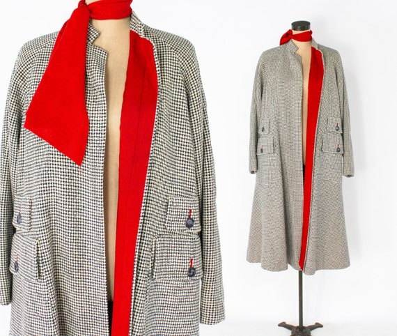 1940s Wool Swing Coat | 40s Gray Checked Wool Swin