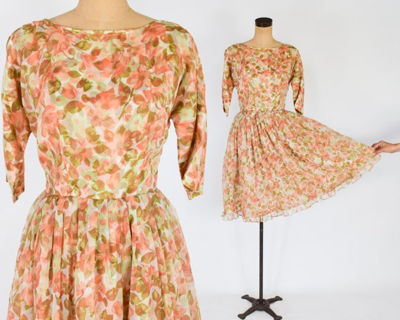 1950s Orange Floral Chiffon Dress | 50s Orange Chi