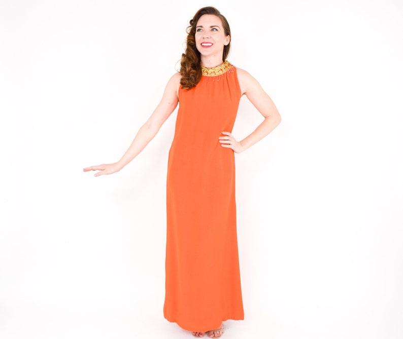 822d407fa0 60s Orange Evening Gown Orange Crepe Formal Small