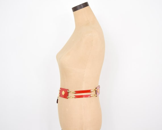 1950s Red Leather Belt   50s Red Leather Rectangl… - image 4