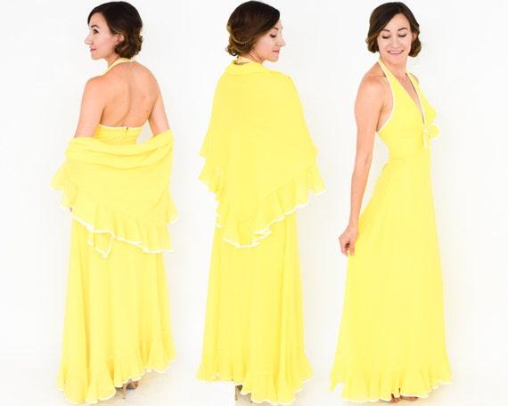 1970s Yellow Halter Dress & Wrap   70s Yellow Ruff