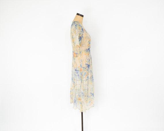 1920s Creme Flowered Silk Chiffon Dress | 20s Flo… - image 8