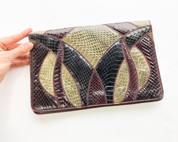 1980s Snakeskin Leather Shoulder Bag | 80s Snakesk