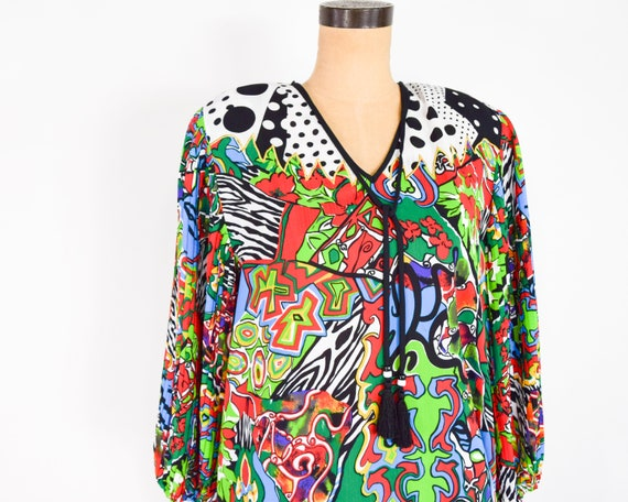 1980s Colorful Diane Freis Blouse & Skirt | 80s O… - image 2