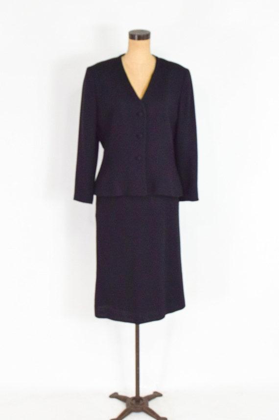 Lilli Ann | 1970s Black Wool Crepe Suit | 70s Bla… - image 4