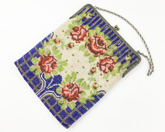 1900s Red Roses Beaded Handbag | Blue & Red Beaded
