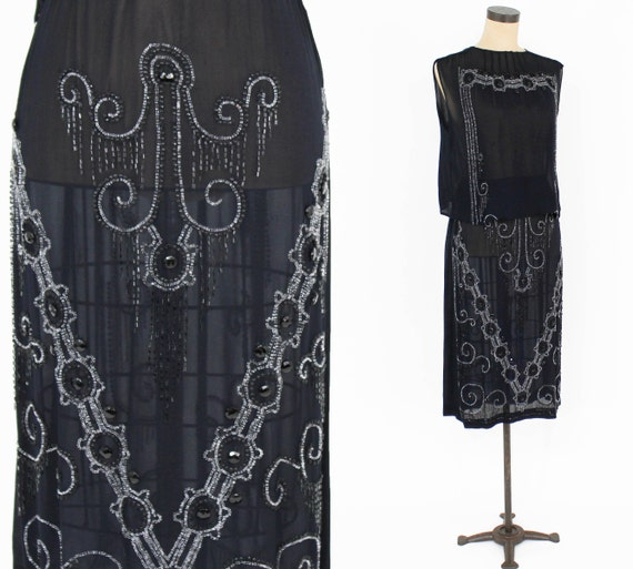 1920s Black Beaded Dress | 20s Black Silk Chiffon