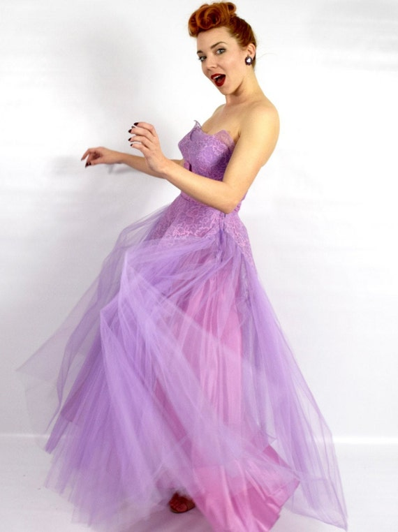 1940s Purple Lace Evening Dress | 40s Lavender Tu… - image 4