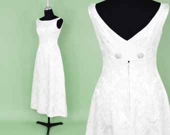 60s White Evening Dress | Wedding Dress | Brocade Prom Homecoming Dress | Small
