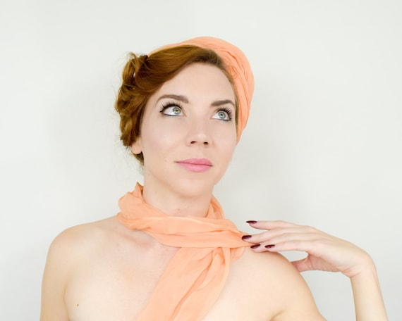 1950s Peach Silk Chiffon Hat   50s Orange Silk Ch… - image 5